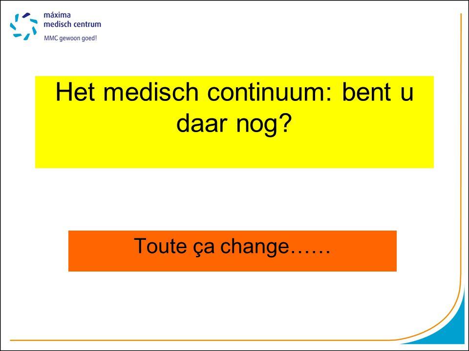 Het medisch continuum: bent u daar nog? Toute ça change……