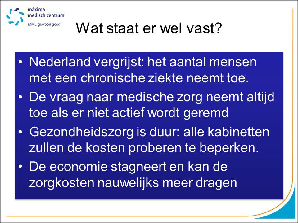 Wat staat er wel vast? Nederland vergrijst: het aantal mensen met een chronische ziekte neemt toe. De vraag naar medische zorg neemt altijd toe als er