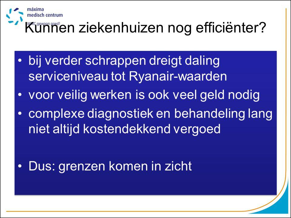 Kunnen ziekenhuizen nog efficiënter? bij verder schrappen dreigt daling serviceniveau tot Ryanair-waarden voor veilig werken is ook veel geld nodig co