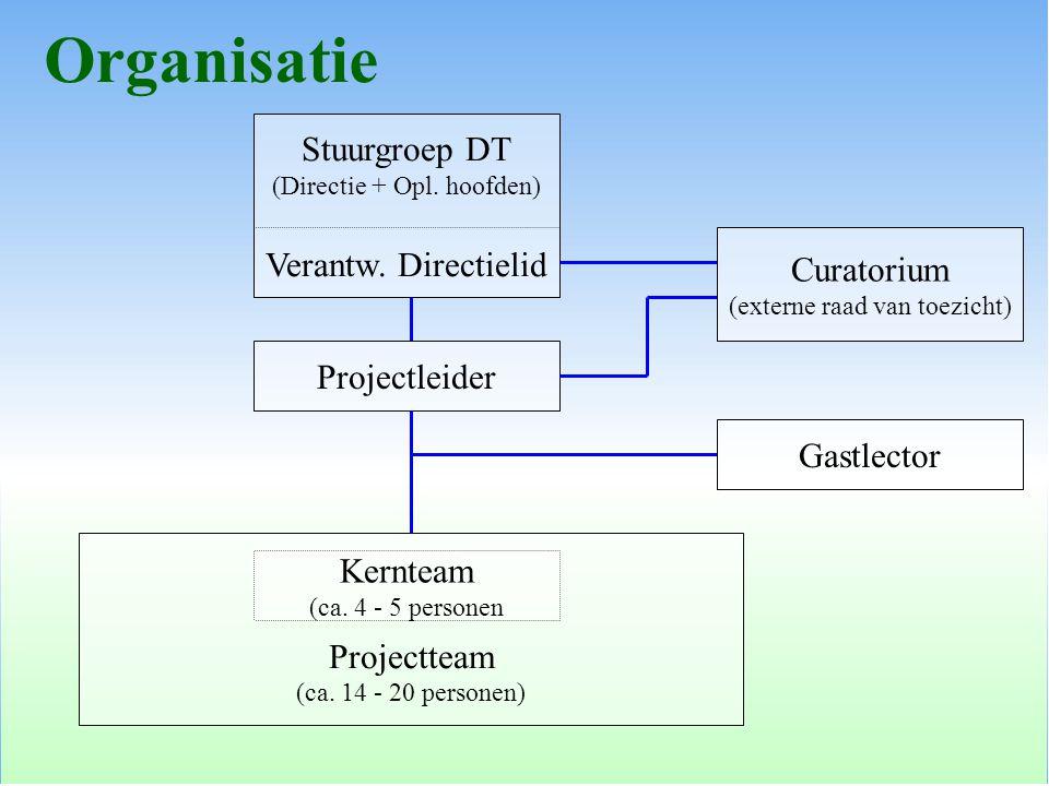 Projectleider Stuurgroep DT (Directie + Opl. hoofden) Verantw. Directielid Curatorium (externe raad van toezicht) Gastlector Projectteam (ca. 14 - 20