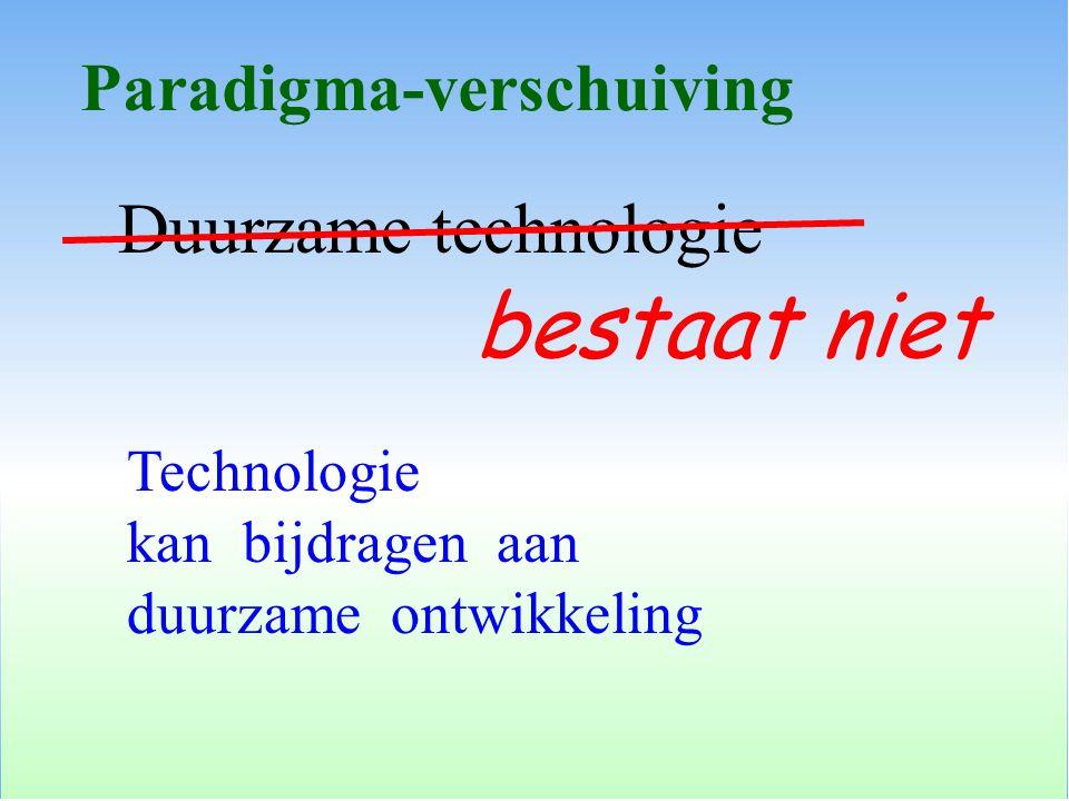 Duurzame technologie Paradigma-verschuiving bestaat niet Technologie kan bijdragen aan duurzame ontwikkeling