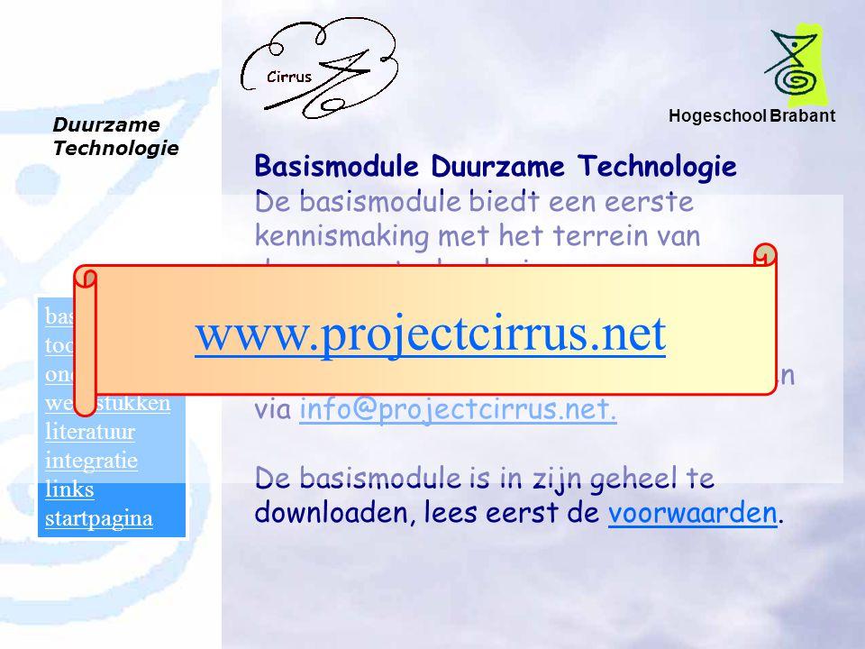 Hogeschool Brabant Duurzame Technologie basismodule toolboxen onderwijs werkstukken literatuur integratie links startpagina Basismodule Duurzame Techn