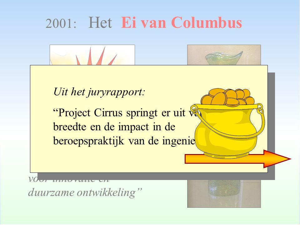 """2001: Het Ei van Columbus """"Nationale VROM-prijs voor innovatie en duurzame ontwikkeling"""" Uit het juryrapport: """"Project Cirrus springt er uit vanwege d"""