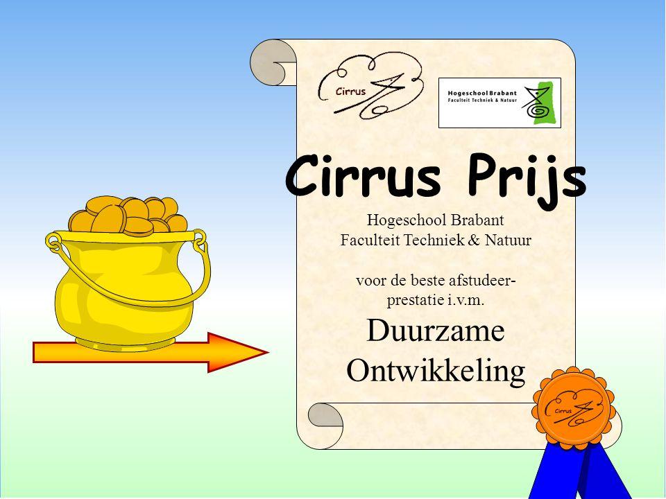 Cirrus Prijs Hogeschool Brabant Faculteit Techniek & Natuur voor de beste afstudeer- prestatie i.v.m. Duurzame Ontwikkeling