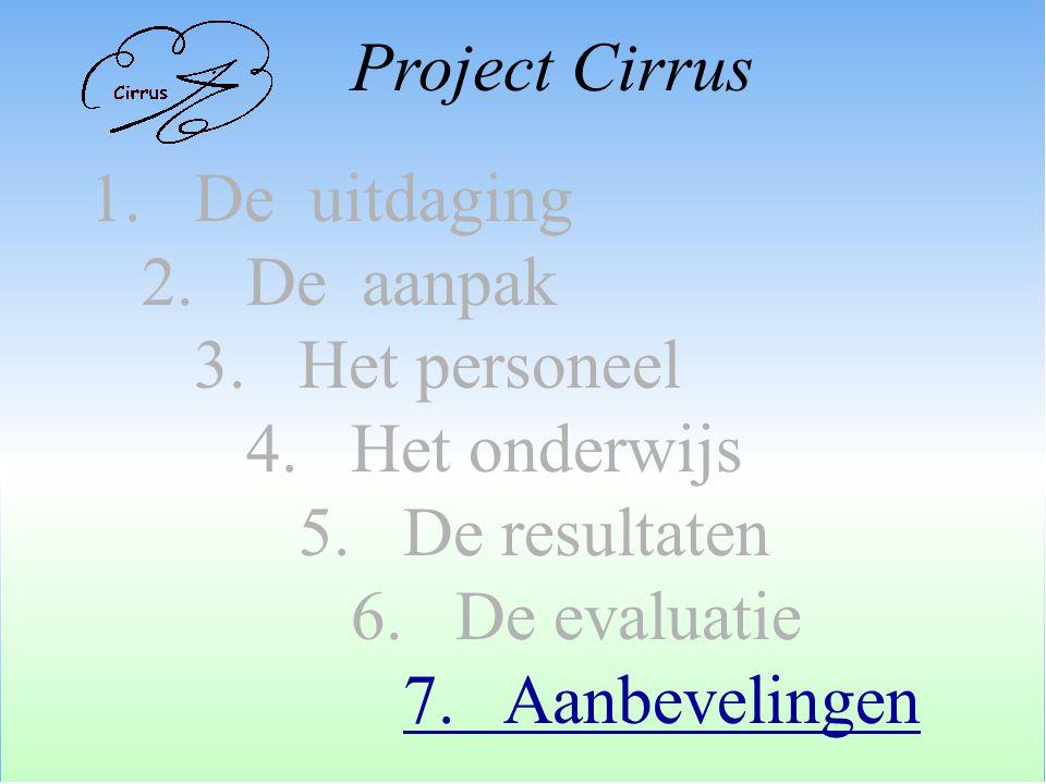 1. De uitdaging 2. De aanpak 3. Het personeel 4. Het onderwijs 5. De resultaten 6. De evaluatie 7. Aanbevelingen Project Cirrus