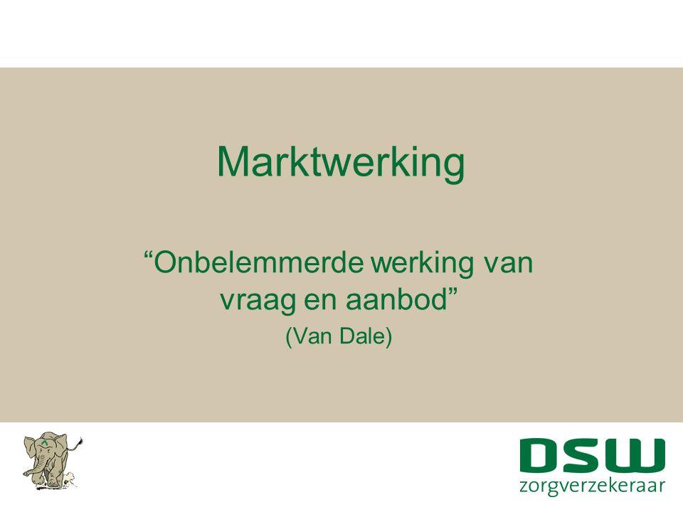 """Marktwerking """"Onbelemmerde werking van vraag en aanbod"""" (Van Dale)"""