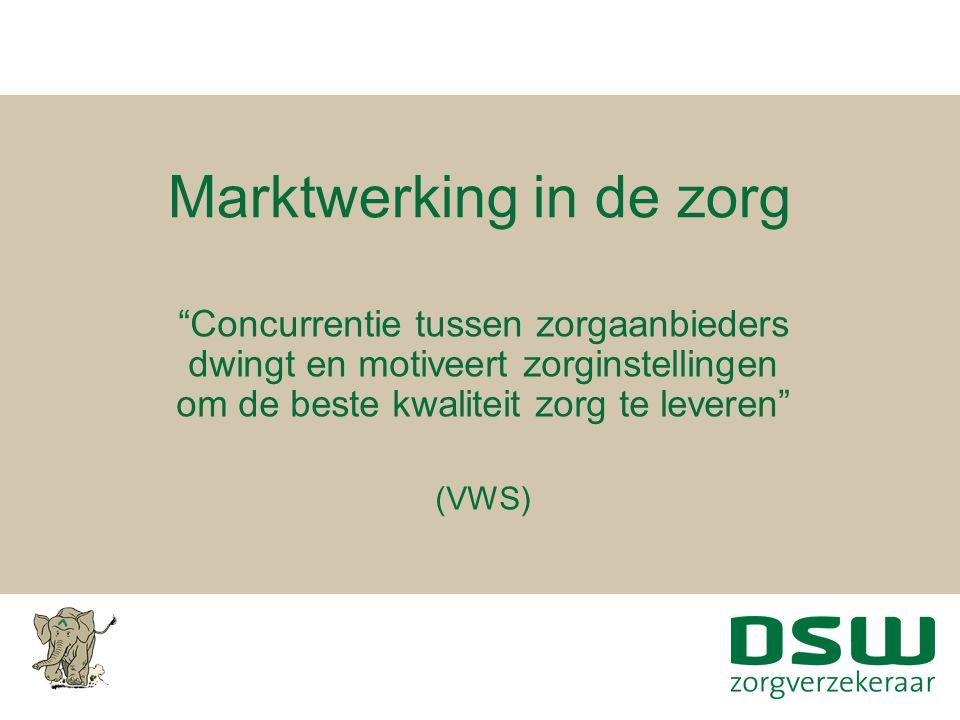 """Marktwerking in de zorg """"Concurrentie tussen zorgaanbieders dwingt en motiveert zorginstellingen om de beste kwaliteit zorg te leveren"""" (VWS)"""
