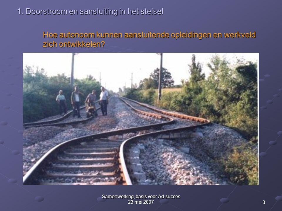 3 Samenwerking, basis voor Ad-succes 23 mei 2007 1. Doorstroom en aansluiting in het stelsel Hoe autonoom kunnen aansluitende opleidingen en werkveld