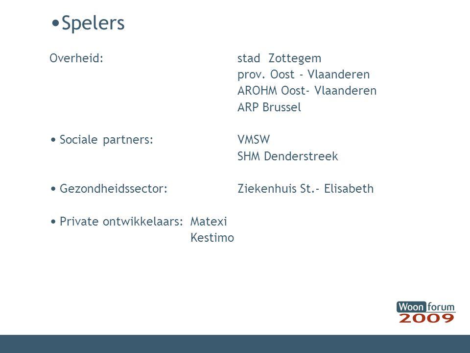 Spelers Overheid: stad Zottegem prov. Oost - Vlaanderen AROHM Oost- Vlaanderen ARP Brussel Sociale partners:VMSW SHM Denderstreek Gezondheidssector: Z