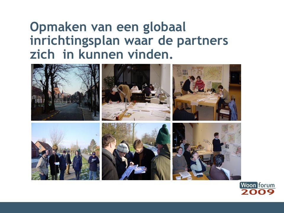 Opmaken van een globaal inrichtingsplan waar de partners zich in kunnen vinden.