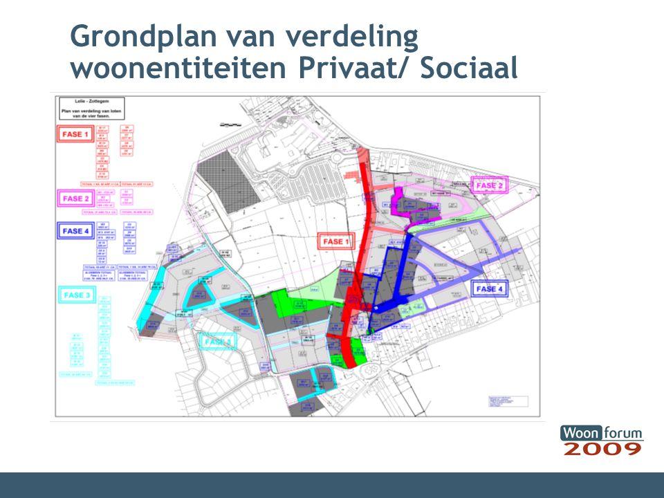 Grondplan van verdeling woonentiteiten Privaat/ Sociaal