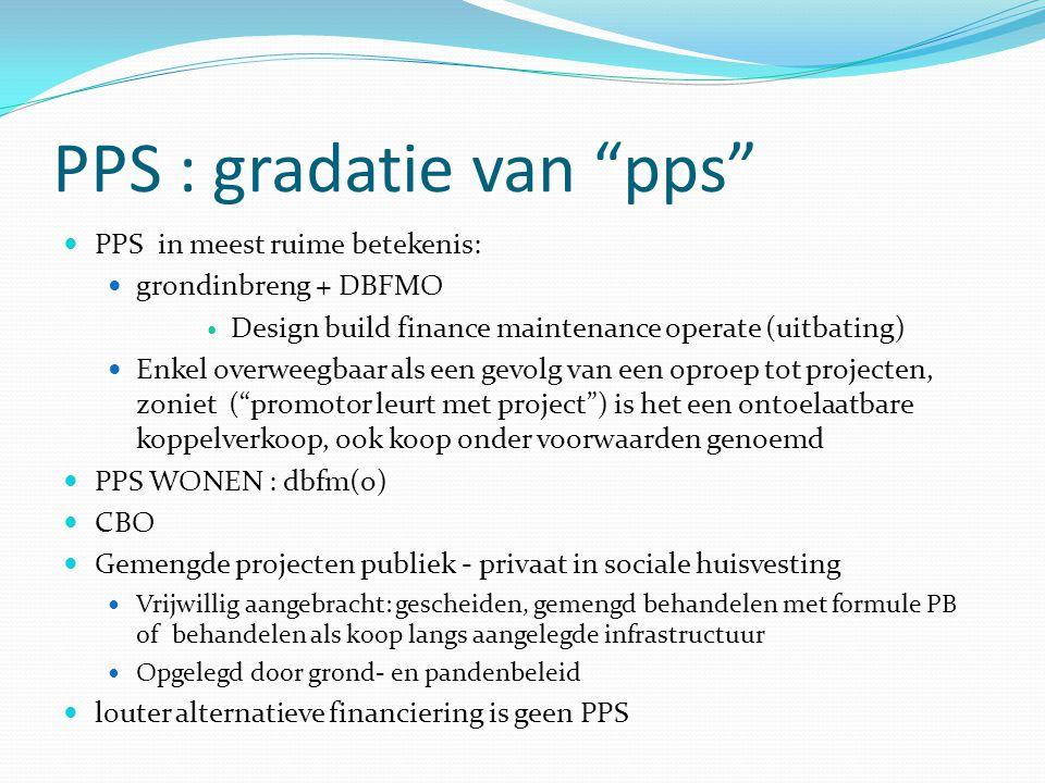"""PPS : gradatie van """"pps"""" PPS in meest ruime betekenis: grondinbreng + DBFMO Design build finance maintenance operate (uitbating) Enkel overweegbaar al"""