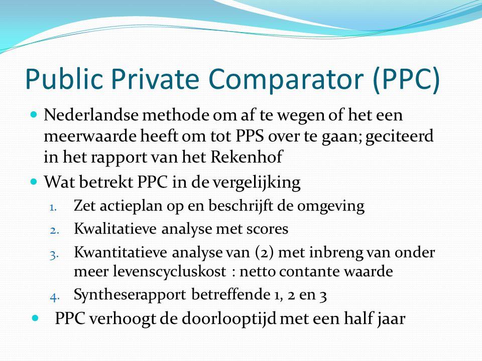 Public Private Comparator (PPC) Nederlandse methode om af te wegen of het een meerwaarde heeft om tot PPS over te gaan; geciteerd in het rapport van h