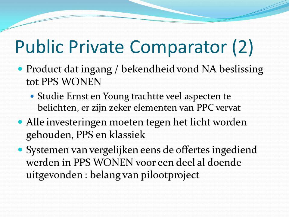 Public Private Comparator (2) Product dat ingang / bekendheid vond NA beslissing tot PPS WONEN Studie Ernst en Young trachtte veel aspecten te belicht