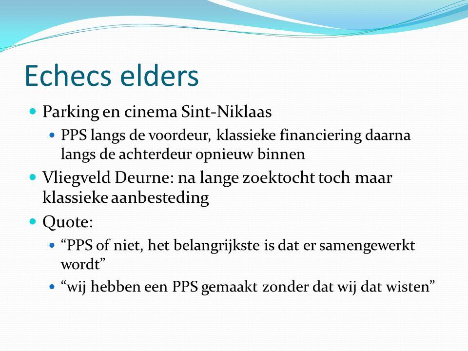 Echecs elders Parking en cinema Sint-Niklaas PPS langs de voordeur, klassieke financiering daarna langs de achterdeur opnieuw binnen Vliegveld Deurne: