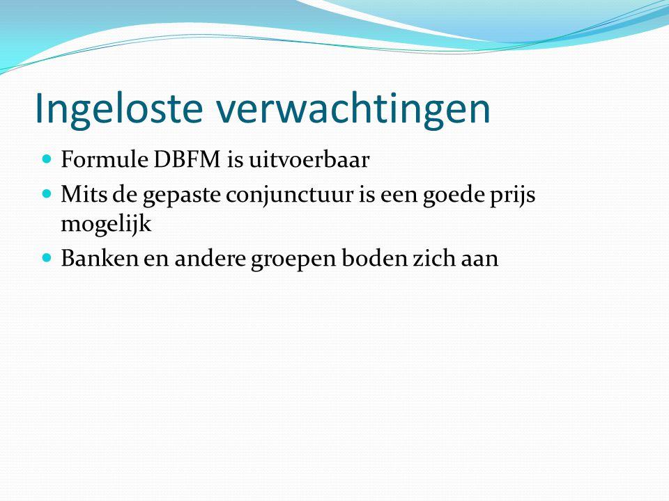 Ingeloste verwachtingen Formule DBFM is uitvoerbaar Mits de gepaste conjunctuur is een goede prijs mogelijk Banken en andere groepen boden zich aan