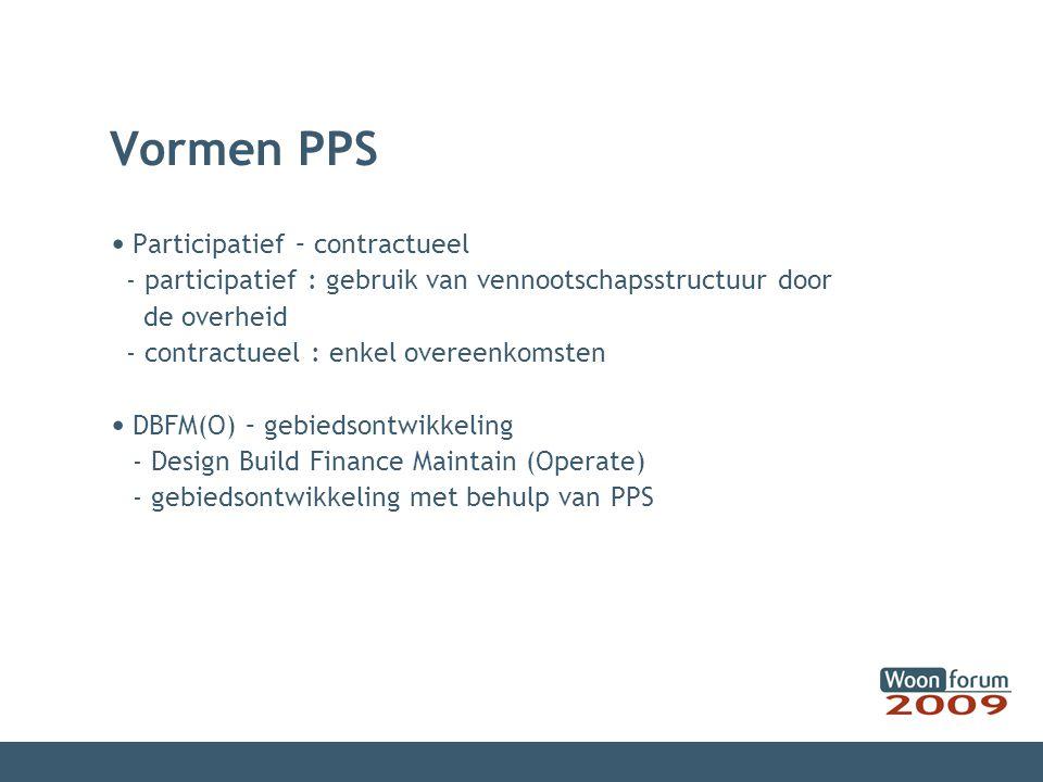Vormen PPS Participatief – contractueel - participatief : gebruik van vennootschapsstructuur door de overheid - contractueel : enkel overeenkomsten DB