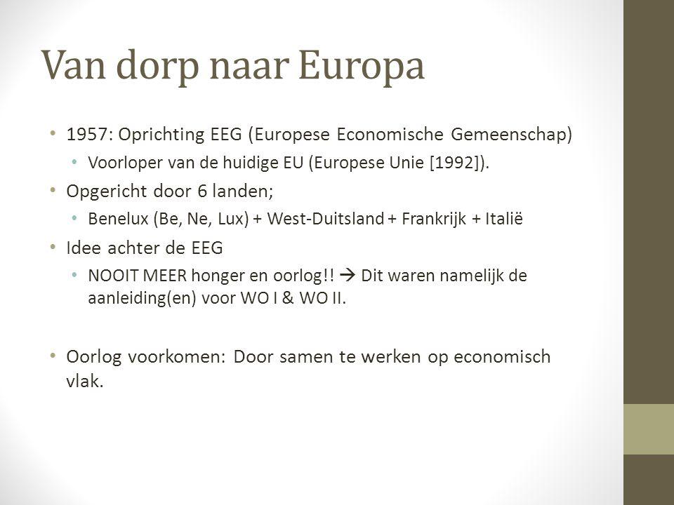 Van dorp naar Europa 1957: Oprichting EEG (Europese Economische Gemeenschap) Voorloper van de huidige EU (Europese Unie [1992]).