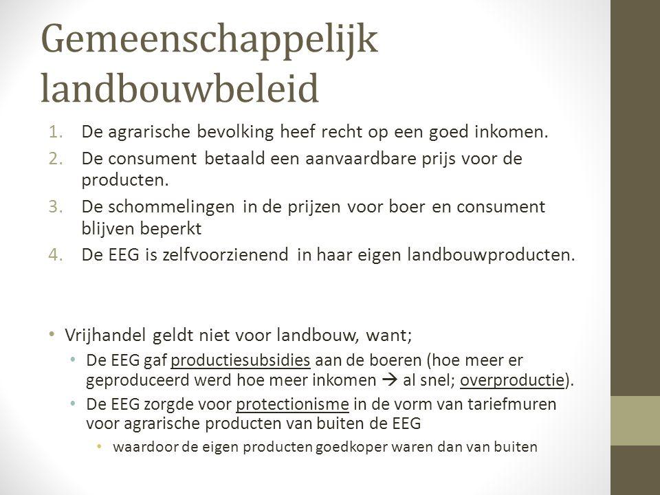 Productiesubsidies Overproductie  Exportsubsidie Protectionisme / importheffingen