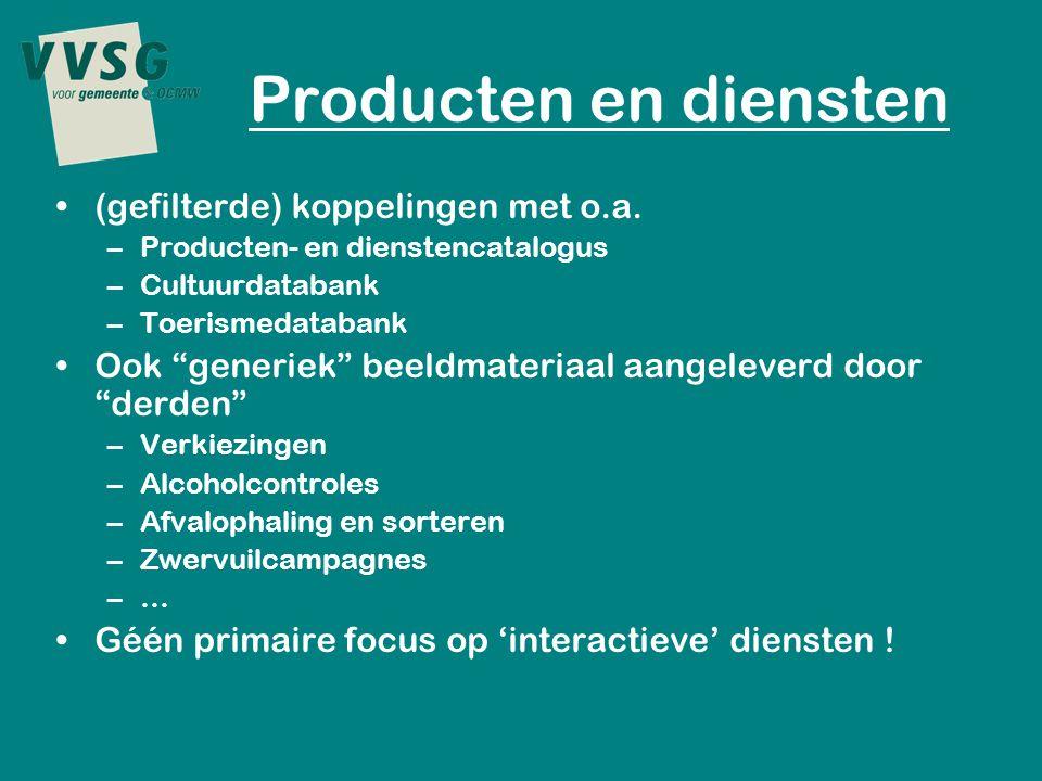 Producten en diensten (gefilterde) koppelingen met o.a.