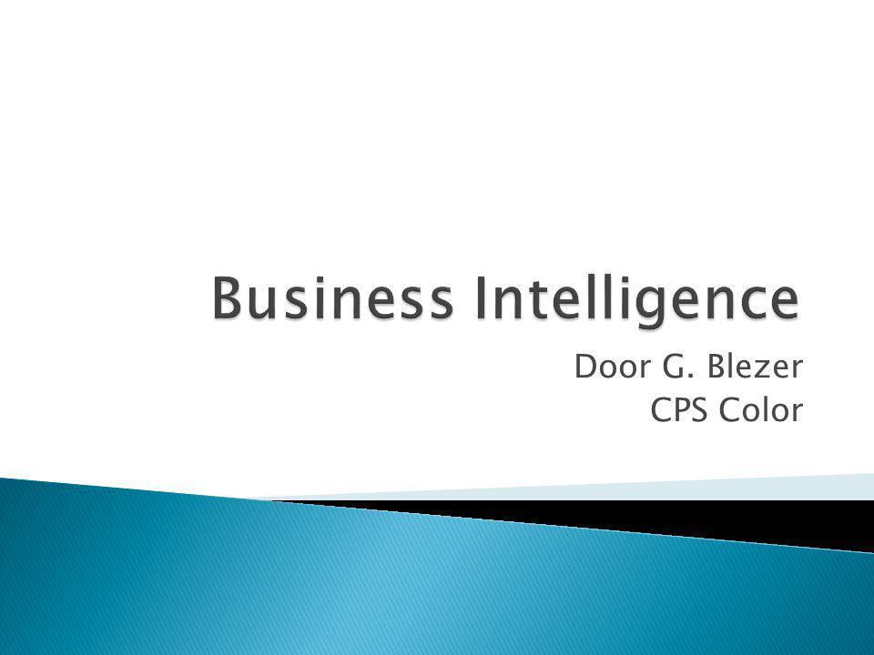 Business Intelligence IT voor BI Business intelligence Pyramid Ondersteuning IT bij BI stadiums Decision Support Systems Model-driven DSS BI en DSS voor CPS Color SWOT-analyse