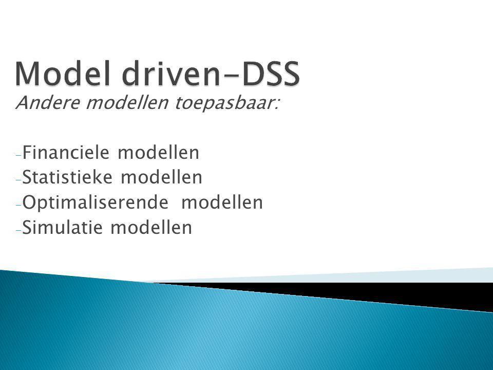 Andere modellen toepasbaar: - Financiele modellen - Statistieke modellen - Optimaliserende modellen - Simulatie modellen