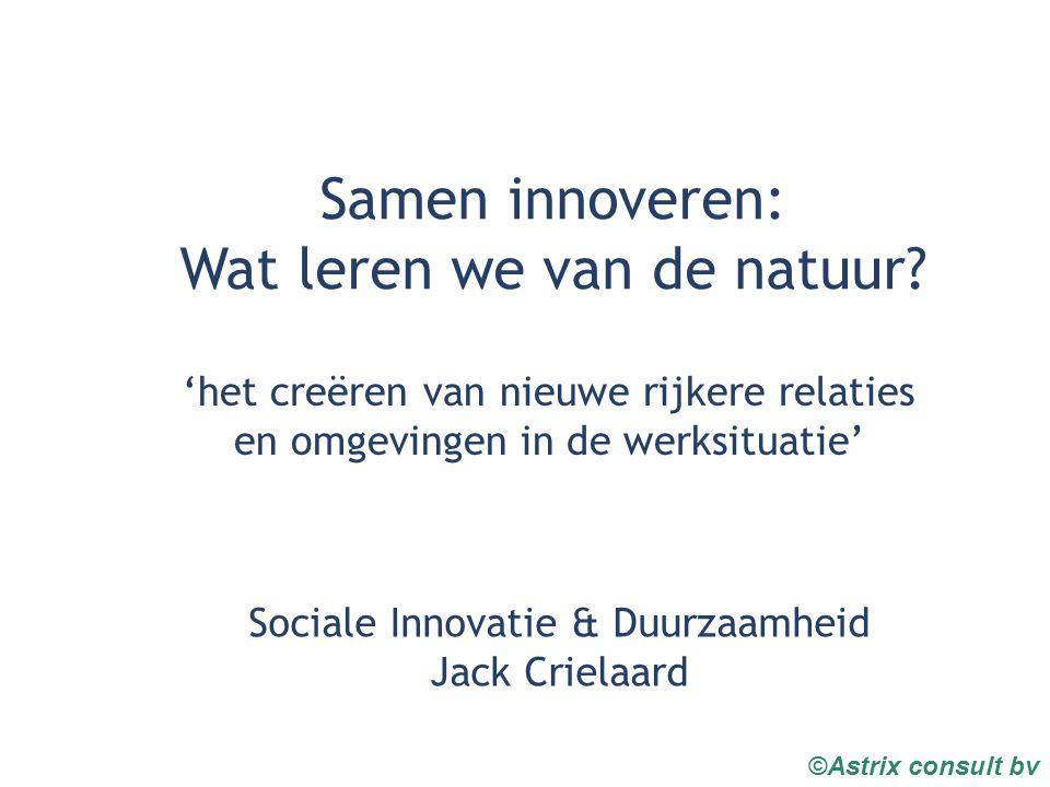 ©Astrix consult bv Samen innoveren: Wat leren we van de natuur.