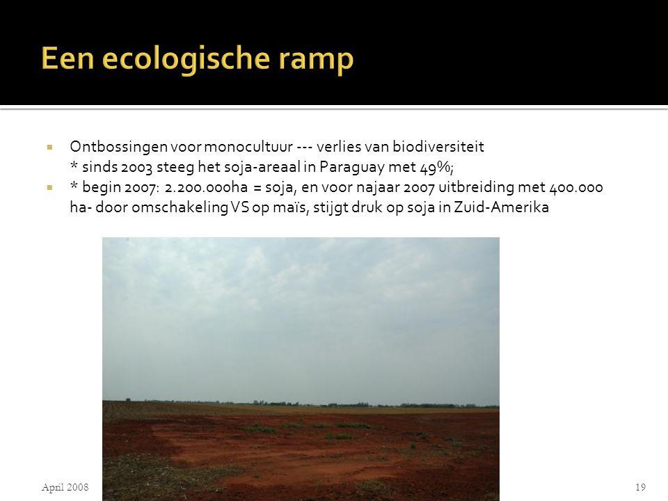  Ontbossingen voor monocultuur --- verlies van biodiversiteit * sinds 2003 steeg het soja-areaal in Paraguay met 49%;  * begin 2007: 2.200.000ha = soja, en voor najaar 2007 uitbreiding met 400.000 ha- door omschakeling VS op maïs, stijgt druk op soja in Zuid-Amerika April 2008Alma De Walsche19