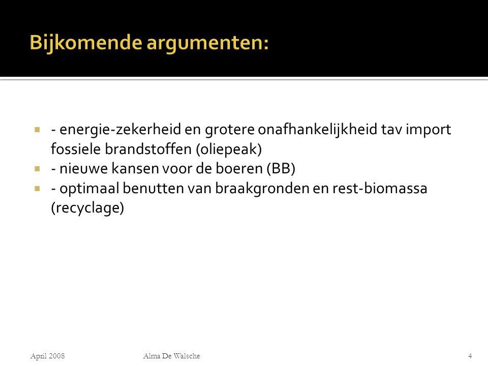  - energie-zekerheid en grotere onafhankelijkheid tav import fossiele brandstoffen (oliepeak)  - nieuwe kansen voor de boeren (BB)  - optimaal benutten van braakgronden en rest-biomassa (recyclage) April 2008Alma De Walsche4
