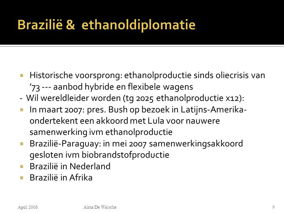  Historische voorsprong: ethanolproductie sinds oliecrisis van '73 --- aanbod hybride en flexibele wagens - Wil wereldleider worden (tg 2025 ethanolproductie x12):  In maart 2007: pres.