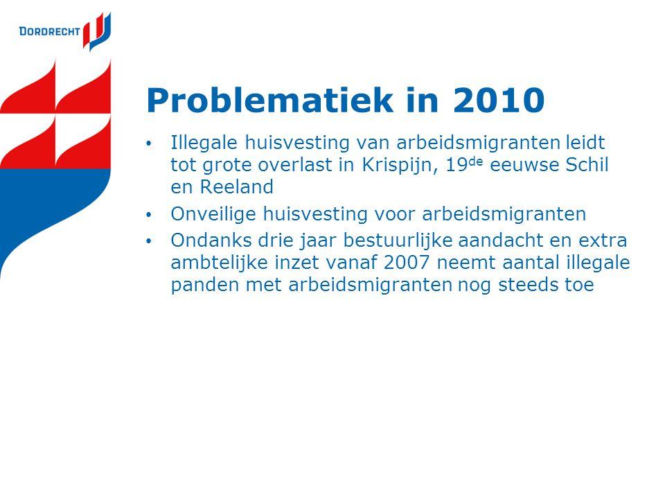 Problematiek in 2010 Illegale huisvesting van arbeidsmigranten leidt tot grote overlast in Krispijn, 19 de eeuwse Schil en Reeland Onveilige huisvesti