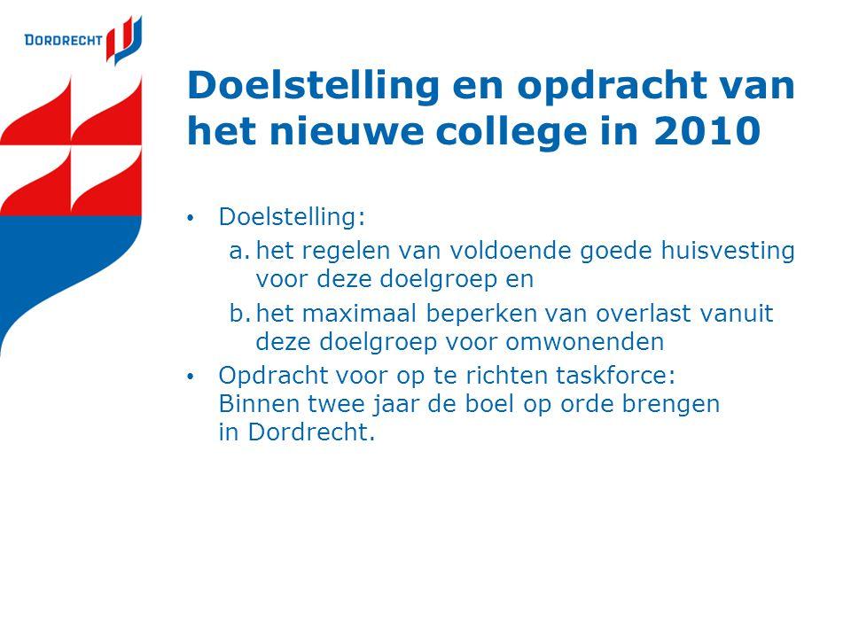 Doelstelling en opdracht van het nieuwe college in 2010 Doelstelling: a.het regelen van voldoende goede huisvesting voor deze doelgroep en b.het maximaal beperken van overlast vanuit deze doelgroep voor omwonenden Opdracht voor op te richten taskforce: Binnen twee jaar de boel op orde brengen in Dordrecht.