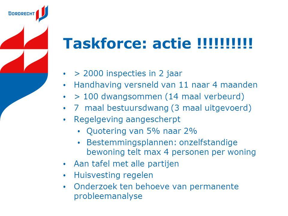 Taskforce: actie !!!!!!!!!! > 2000 inspecties in 2 jaar Handhaving versneld van 11 naar 4 maanden > 100 dwangsommen (14 maal verbeurd) 7 maal bestuurs