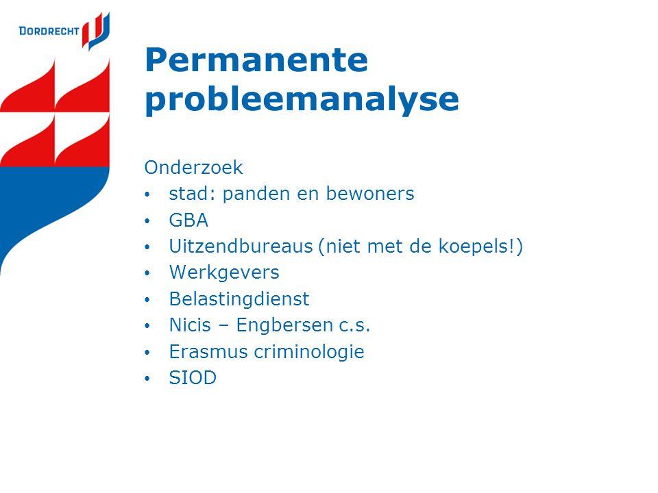 Permanente probleemanalyse Onderzoek stad: panden en bewoners GBA Uitzendbureaus (niet met de koepels!) Werkgevers Belastingdienst Nicis – Engbersen c.s.