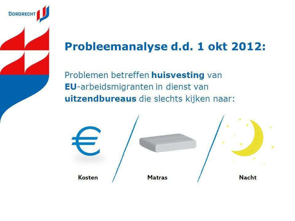 Probleemanalyse d.d. 1 okt 2012: Problemen betreffen huisvesting van EU-arbeidsmigranten in dienst van uitzendbureaus die slechts kijken naar: