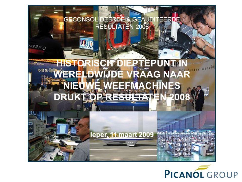 GECONSOLIDEERDE & GEAUDITEERDE RESULTATEN 2008 HISTORISCH DIEPTEPUNT IN WERELDWIJDE VRAAG NAAR NIEUWE WEEFMACHINES DRUKT OP RESULTATEN 2008 Ieper, 11 maart 2009