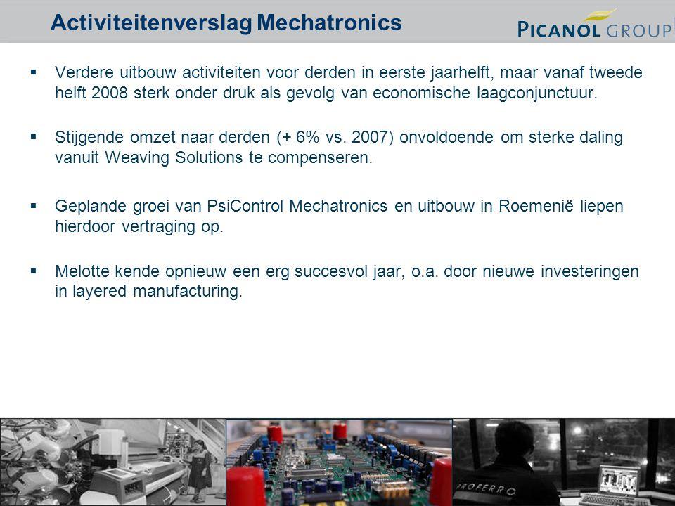 5 Activiteitenverslag Mechatronics  Verdere uitbouw activiteiten voor derden in eerste jaarhelft, maar vanaf tweede helft 2008 sterk onder druk als gevolg van economische laagconjunctuur.