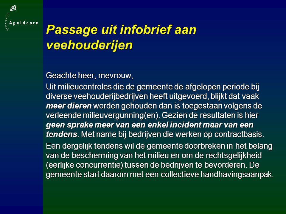 Passage uit infobrief aan veehouderijen Geachte heer, mevrouw, Uit milieucontroles die de gemeente de afgelopen periode bij diverse veehouderijbedrijv
