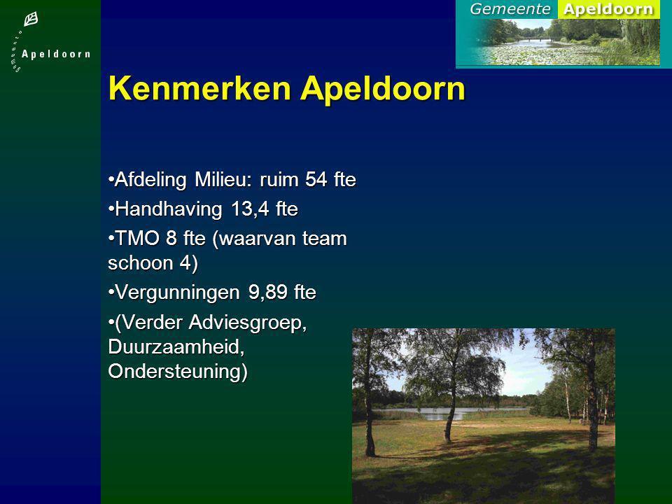 Kenmerken Apeldoorn Afdeling Milieu: ruim 54 fteAfdeling Milieu: ruim 54 fte Handhaving 13,4 fteHandhaving 13,4 fte TMO 8 fte (waarvan team schoon 4)T