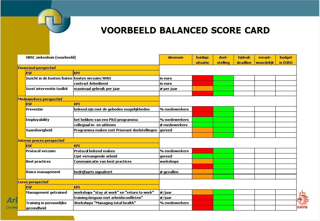 VOORBEELD BALANCED SCORE CARD
