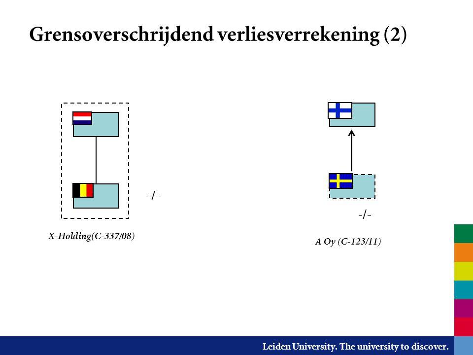 Leiden University. The university to discover. Grensoverschrijdend verliesverrekening (2) -/- A Oy (C-123/11) X-Holding(C-337/08) -/-