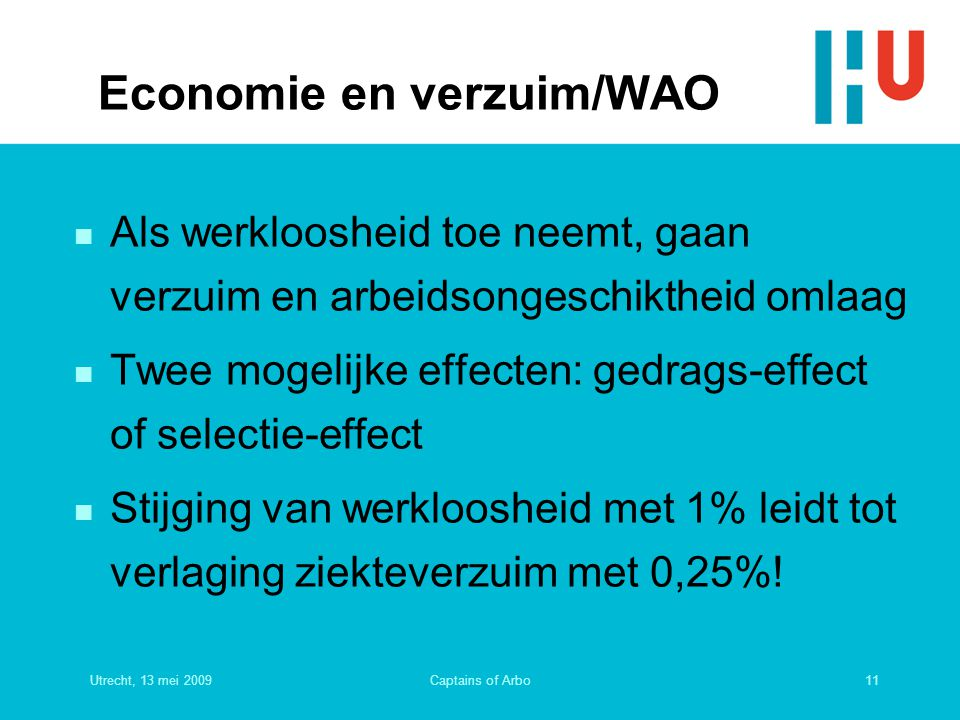 Utrecht, 13 mei 200911Captains of Arbo Economie en verzuim/WAO n Als werkloosheid toe neemt, gaan verzuim en arbeidsongeschiktheid omlaag n Twee mogel
