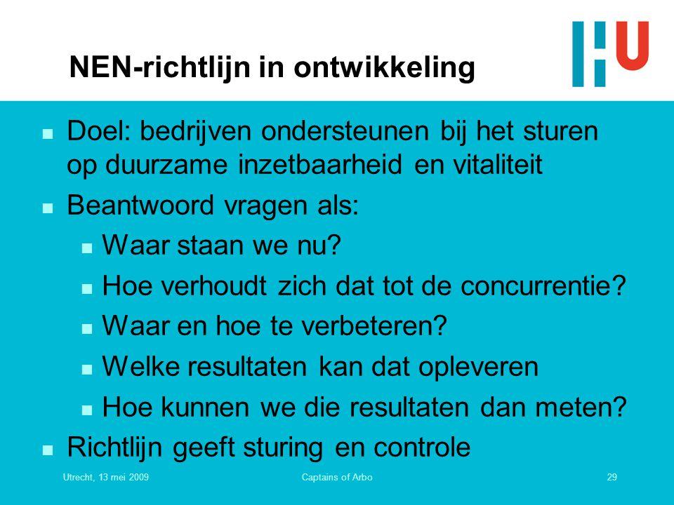 Utrecht, 13 mei 200929Captains of Arbo NEN-richtlijn in ontwikkeling n Doel: bedrijven ondersteunen bij het sturen op duurzame inzetbaarheid en vitali