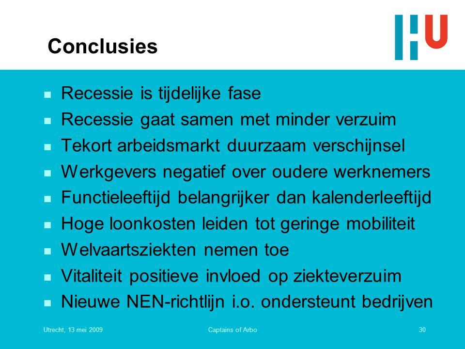Utrecht, 13 mei 200930Captains of Arbo Conclusies n Recessie is tijdelijke fase n Recessie gaat samen met minder verzuim n Tekort arbeidsmarkt duurzaa