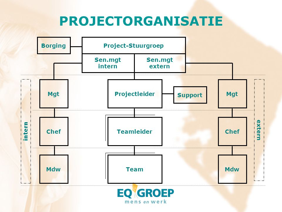 PROJECTORGANISATIE Projectleider Teamleider Team Project-Stuurgroep Sen.mgt intern Sen.mgt extern Borging Support Mgt Chef Mgt extern Mdw intern