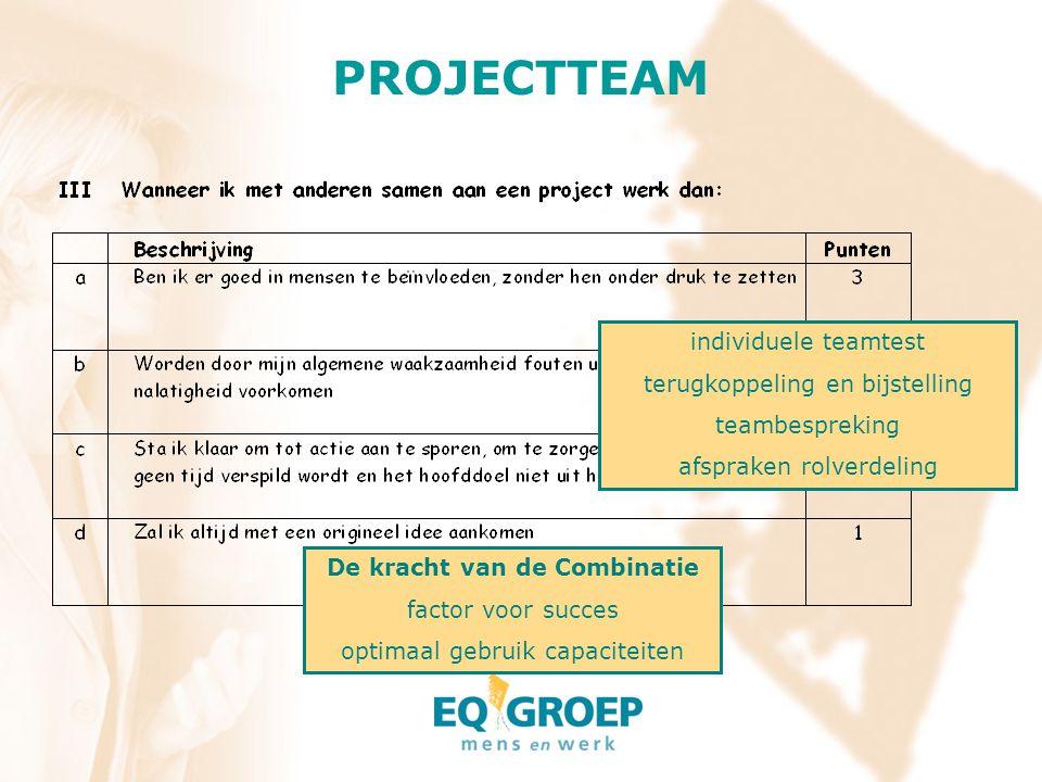 PROJECTTEAM individuele teamtest terugkoppeling en bijstelling teambespreking afspraken rolverdeling De kracht van de Combinatie factor voor succes op