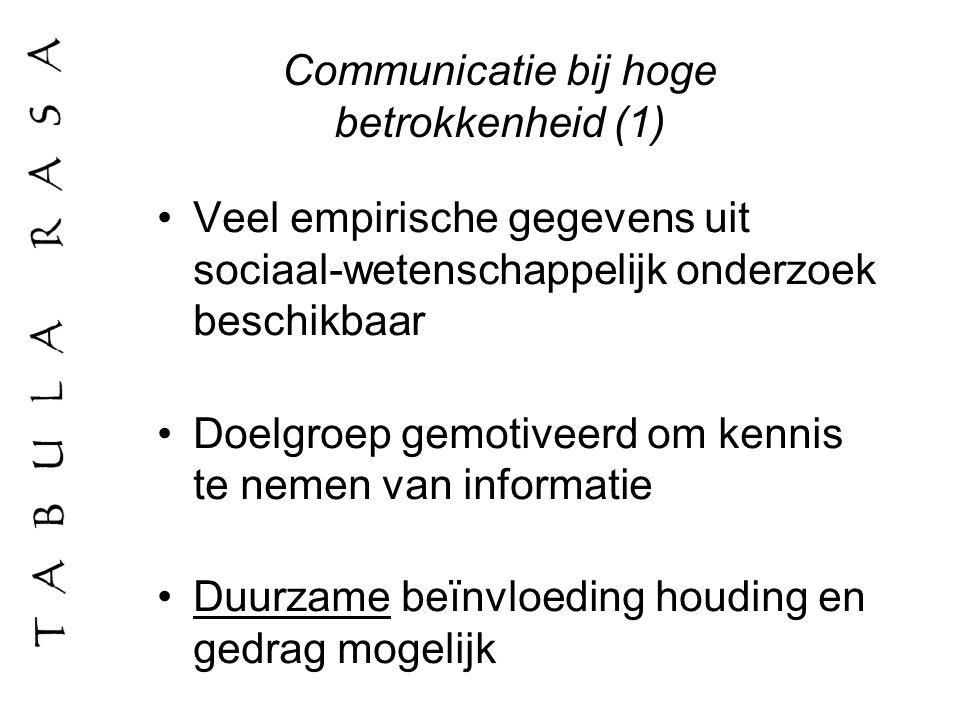 Communicatie bij hoge betrokkenheid (1) Veel empirische gegevens uit sociaal-wetenschappelijk onderzoek beschikbaar Doelgroep gemotiveerd om kennis te