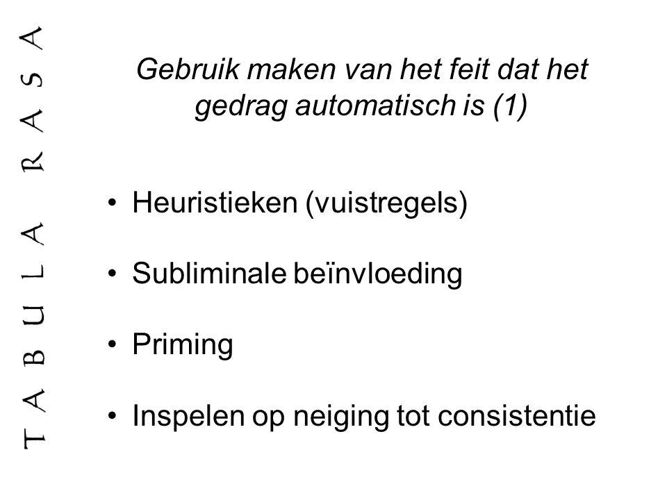 Gebruik maken van het feit dat het gedrag automatisch is (1) Heuristieken (vuistregels) Subliminale beïnvloeding Priming Inspelen op neiging tot consi