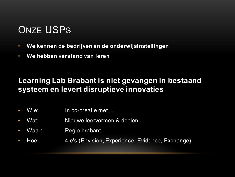 O NZE USP S We kennen de bedrijven en de onderwijsinstellingen We hebben verstand van leren Learning Lab Brabant is niet gevangen in bestaand systeem