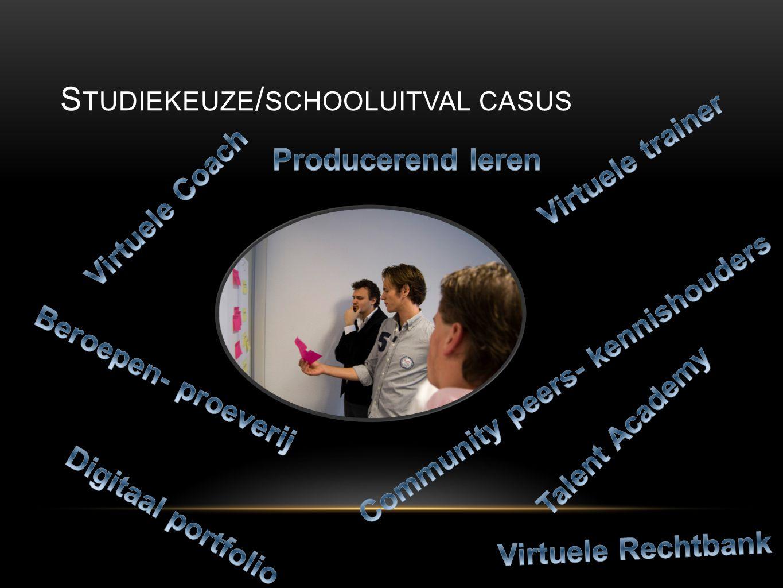 V OOR WIE DOEN WE HET Lerende > Co-creatie van passende leervormen Overheid > Inbreng van casussen, Innovatie infrastructuur in leren Bedrijf > Inbreng van casussen, Sneller inzetbare werknemers Onderwijsinstelling > Inbreng van casussen, Geinspireerde actieve leerlingen